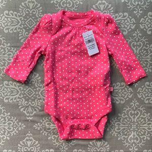 NWT Baby Gap Pink & White Polka Dot Onesie, 0-3 Mo